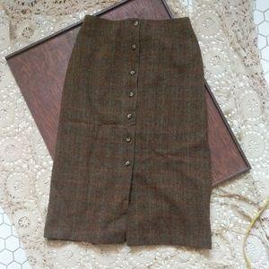 Orvis Full Length Wool Plaid A Line Skirt 10P